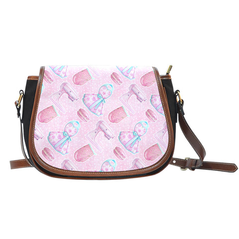 Baking Themed Aprons and Mixers 2 Crossbody Shoulder Canvas Leather Saddle Bag