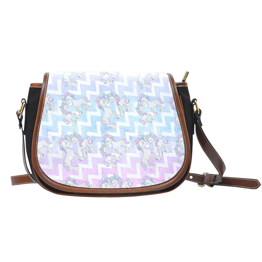 Unicorn Pastel Crossbody Shoulder Canvas Leather Saddle Bag - STUDIO 11 COUTURE