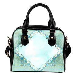 Summer Mermaid Themed Design B11 Women Fashion Shoulder Handbag Black Vegan Faux Leather