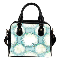 Summer Mermaid Themed Design B8 Women Fashion Shoulder Handbag Black Vegan Faux Leather