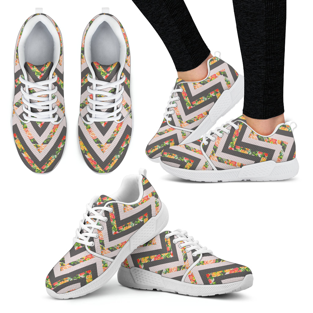 Awesome Zigzag Floral Spring Women Athletic Sneakers