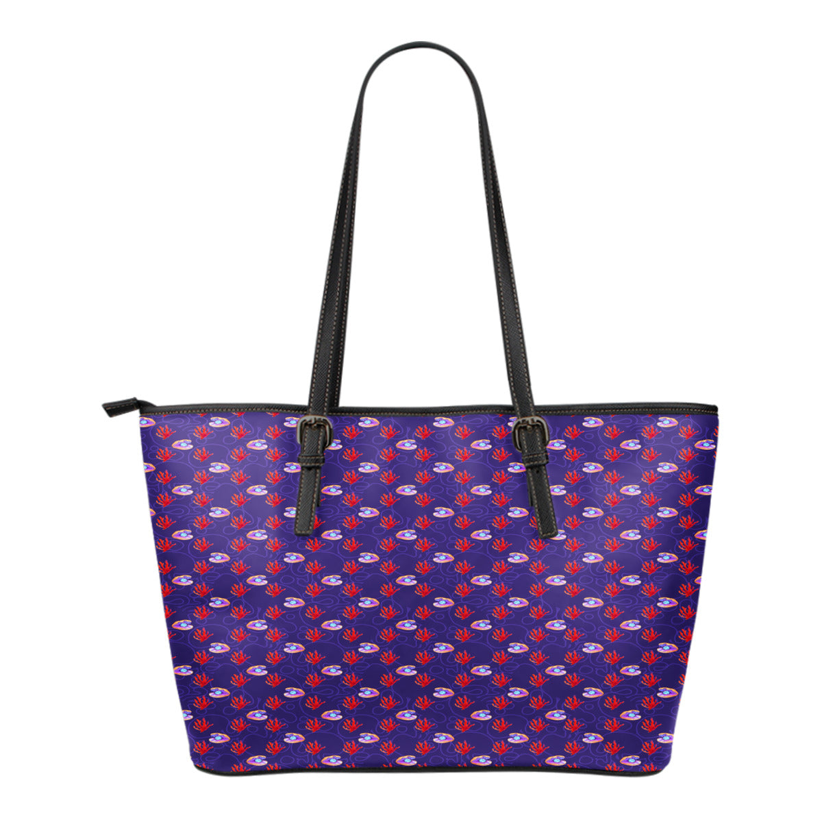 Mermaid Themed Design C5 Women Small Leather Tote Bag