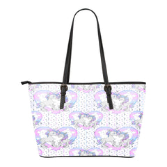 Unicorn Themed Design C8 Women Small Leather Tote Bag
