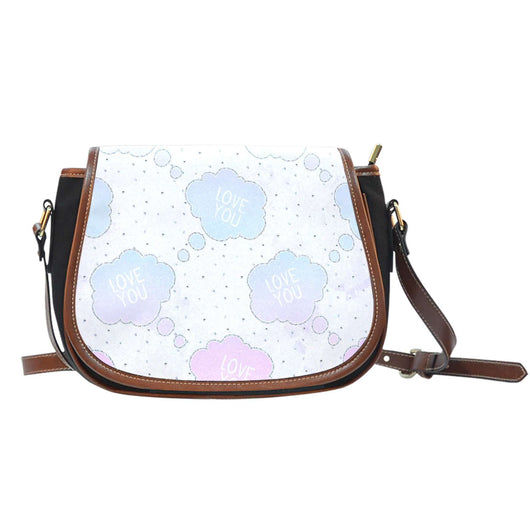 Love You Clouds Crossbody Shoulder Canvas Leather Saddle Bag