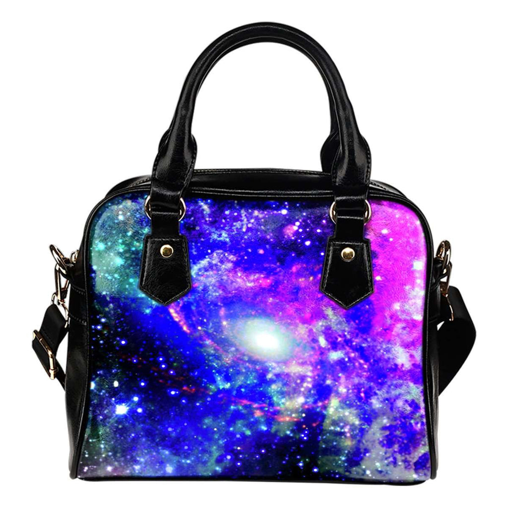 Galaxy #2 Theme Women Fashion Shoulder Handbag Black Vegan Faux Leather - STUDIO 11 COUTURE