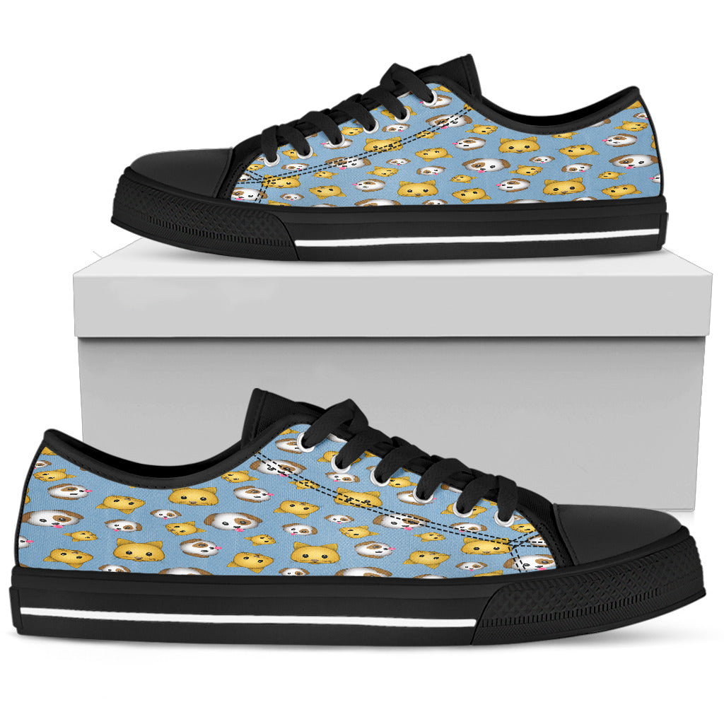 Emoji Cats and Dogs Womens Low Top Shoes