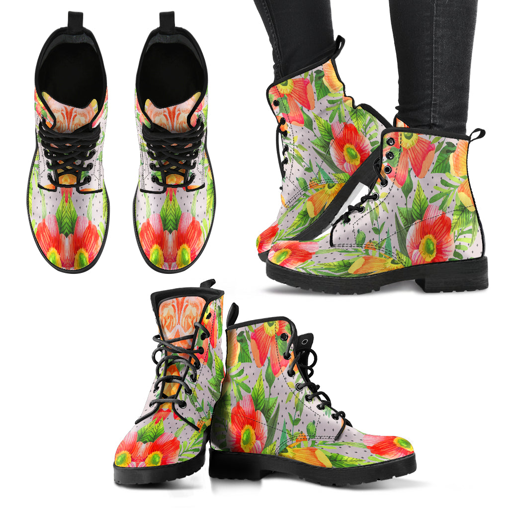 Beautiful Floral Spring Women Leather Boots