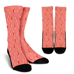 Cute Red Dot Small Fox Crew Socks