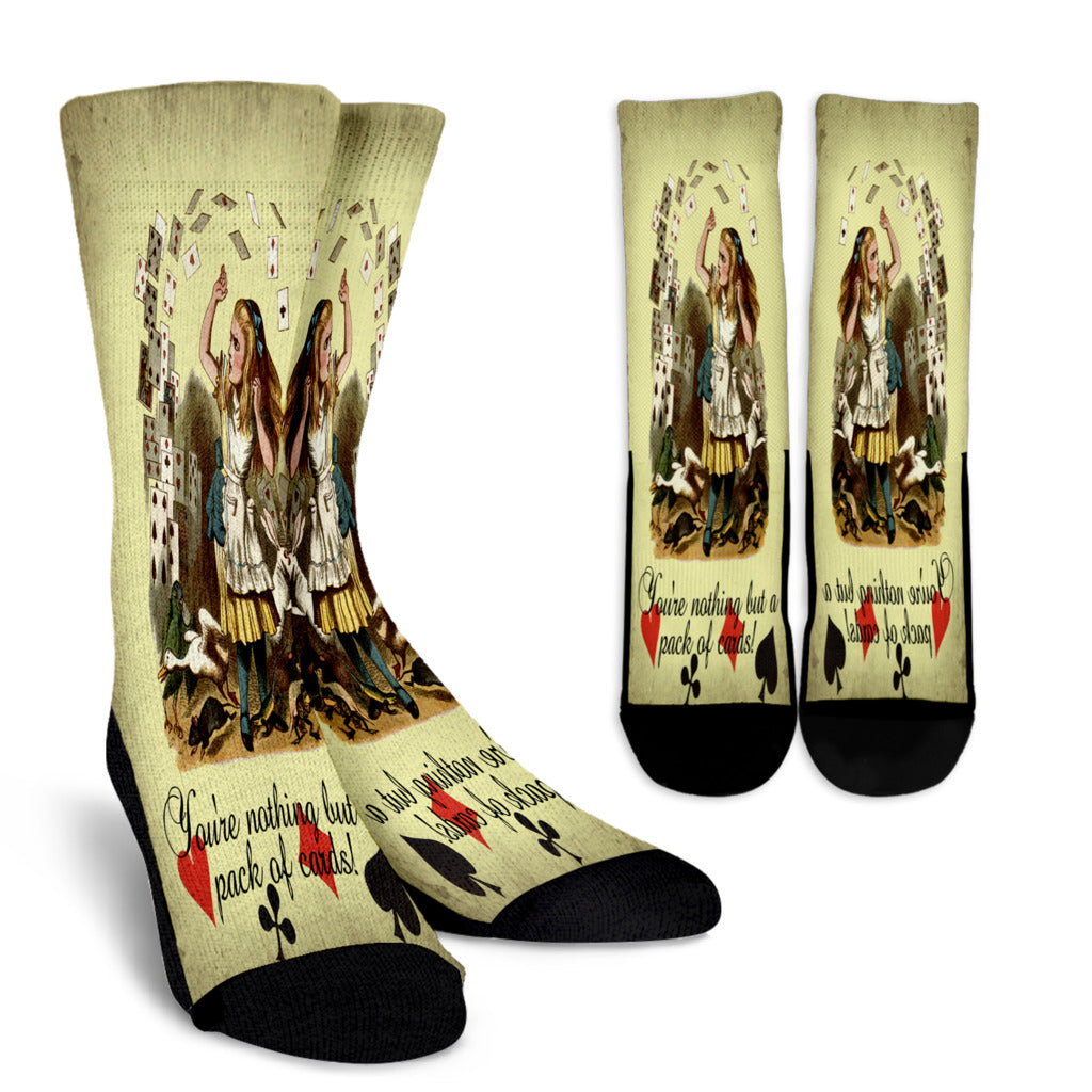 You're Nothing But A Pack Of Cards Alice In Wonderland Crew Socks - STUDIO 11 COUTURE