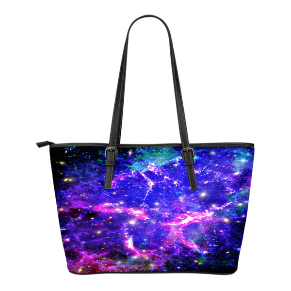 Galaxy Themed Design C4 Women Small Leather Tote Bag