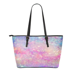 Pastel Galaxy Themed Design C8 Women Small Leather Tote Bag