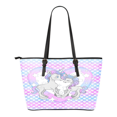 Unicorn Themed Design C9 Women Small Leather Tote Bag