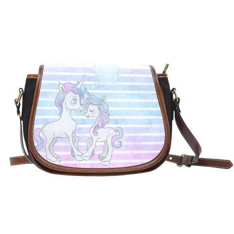 Unicorn In Love Horizon Crossbody Shoulder Canvas Leather Saddle Bag - STUDIO 11 COUTURE