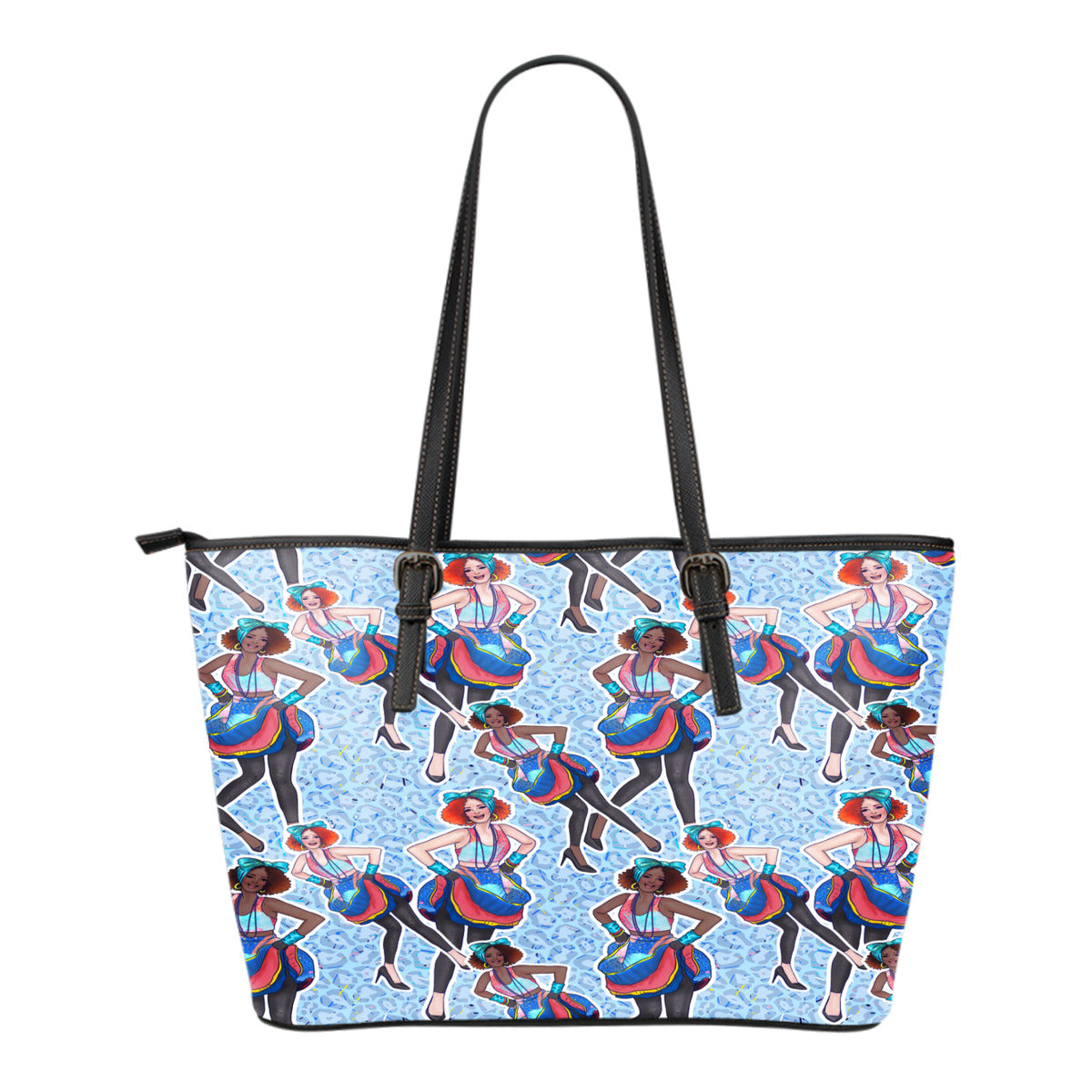 80s Fashion Themed Design C3 Women Small Leather Tote Bag