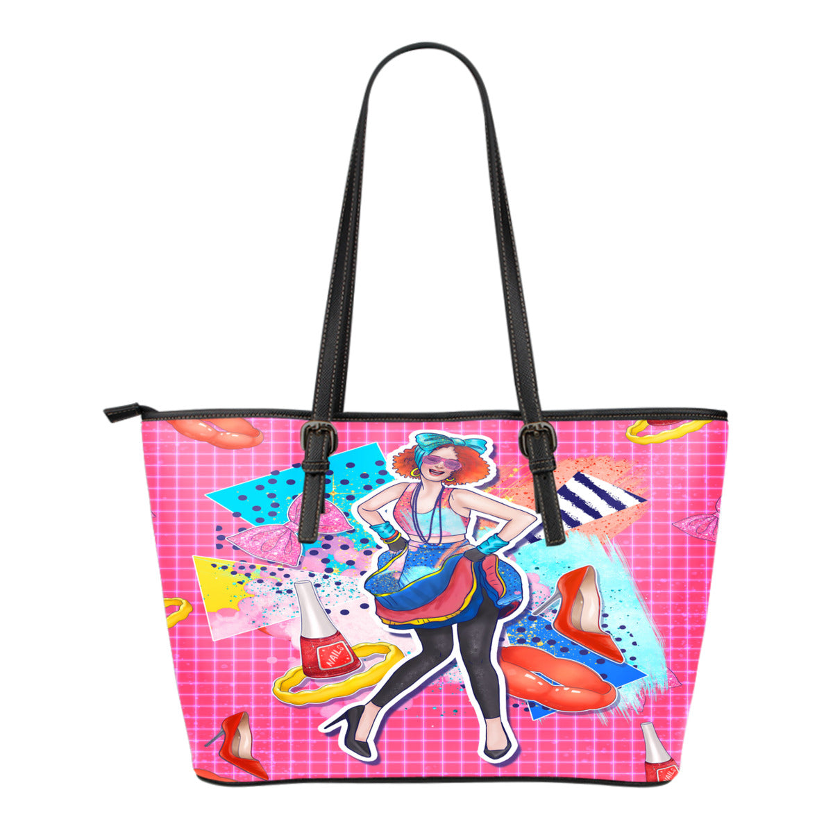 80s Fashion Themed Design C11 Women Small Leather Tote Bag