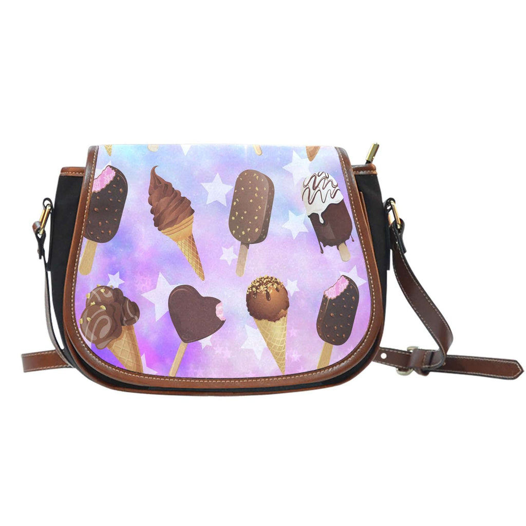 Ice Cream 9 Crossbody Shoulder Canvas Leather Saddle Bag
