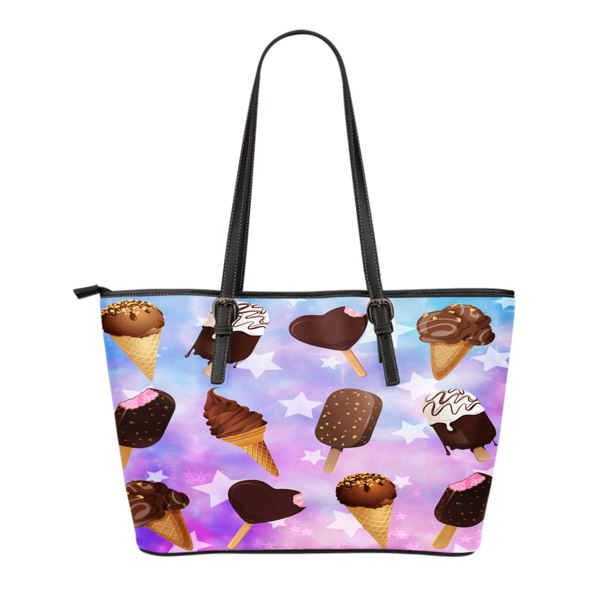 Ice Cream Themed Design C9 Women Small Leather Tote Bag