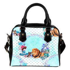 Wizard Of Oz Themed Design B4 Women Fashion Shoulder Handbag Black Vegan Faux Leather