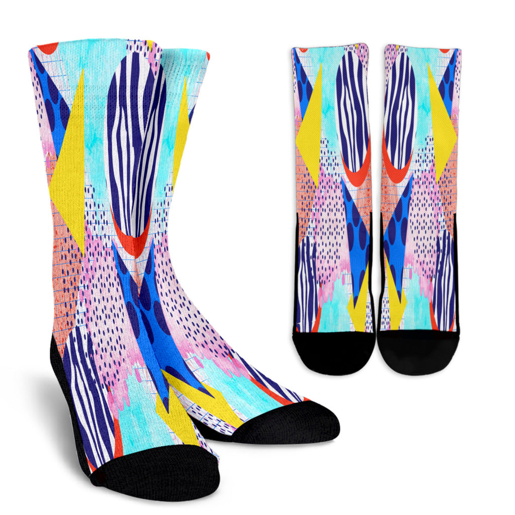 80s Triangle Fashion Girl Crew Socks