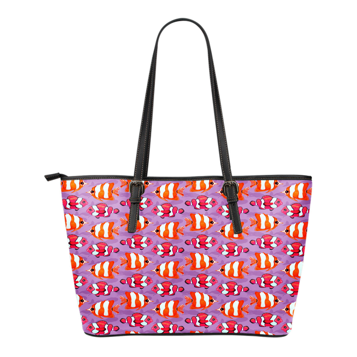 Mermaid Themed Design C2 Women Small Leather Tote Bag