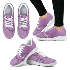 Dirty Purple Marble Tile Women Athletic Sneakers