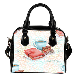 Crafter Fashion Themed Design B13 Women Fashion Shoulder Handbag Black Vegan Faux Leather