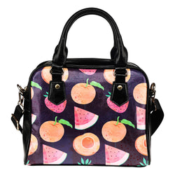 Fruits Themed Design B10 Women Fashion Shoulder Handbag Black Vegan Faux Leather