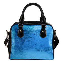 Nature Themed Design B8 Women Fashion Shoulder Handbag Black Vegan Faux Leather