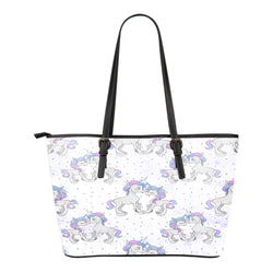 Unicorn Themed Design C7 Women Small Leather Tote Bag