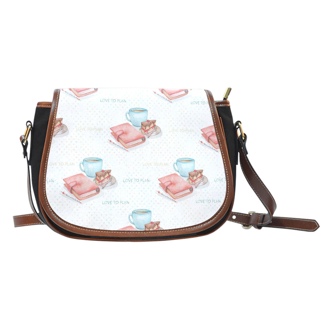 Crafter Fashion Themed Design A14 Crossbody Shoulder Canvas Leather Saddle Bag