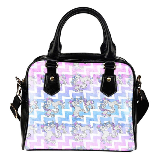 Unicorn Pastel Chevron Theme Women Fashion Shoulder Handbag Black Vegan Faux Leather - STUDIO 11 COUTURE
