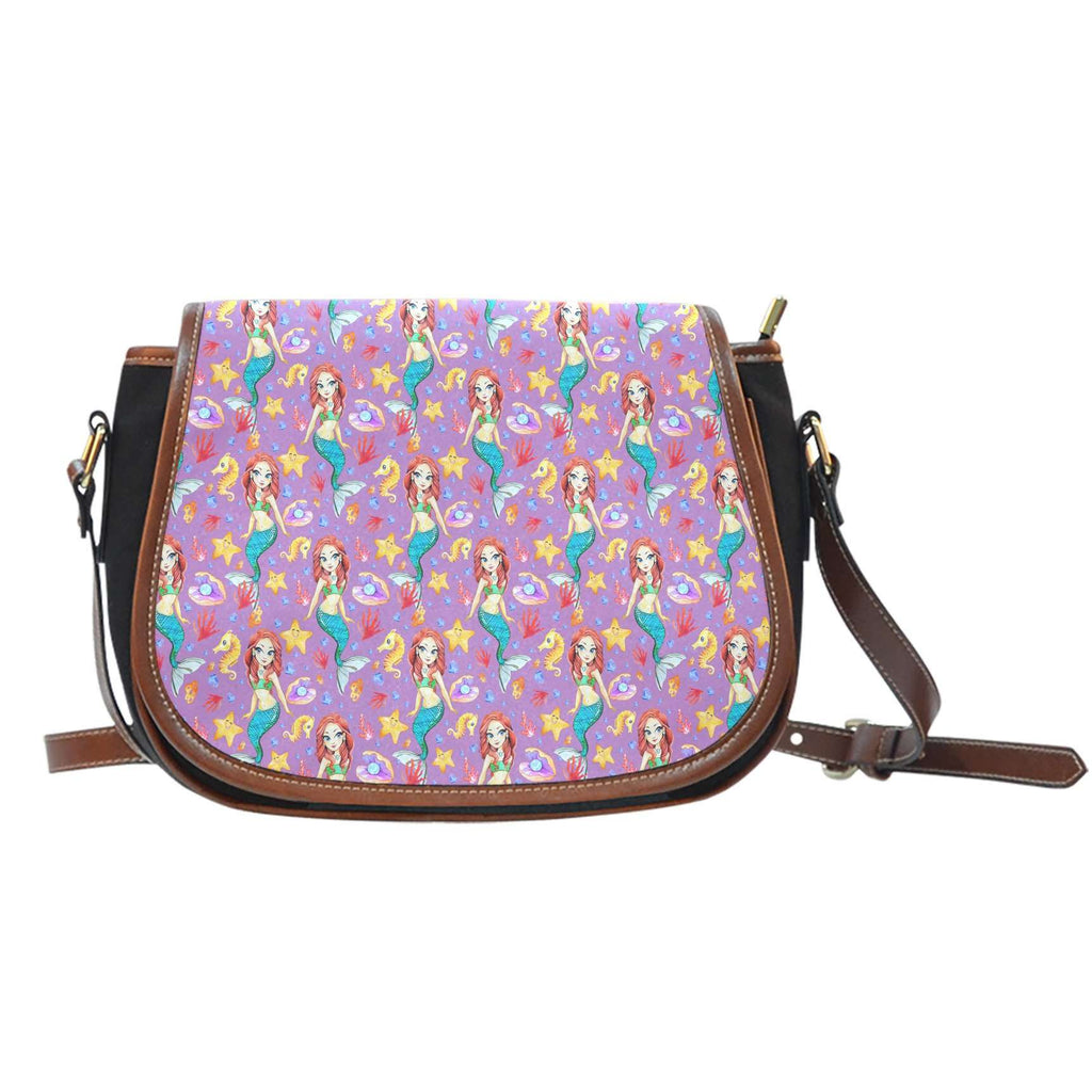Mermaid Under The Sea Purple 1 Leather Saddle Bag - STUDIO 11 COUTURE