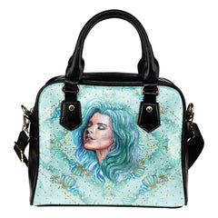 Summer Mermaid Themed Design B4 Women Fashion Shoulder Handbag Black Vegan Faux Leather