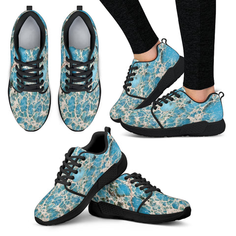 Dirty Cracked Marble Tile Women Athletic Sneakers