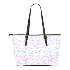 Unicorn Themed Design C4 Women Small Leather Tote Bag