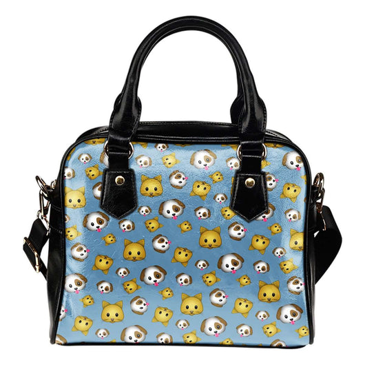 Fun Emojis Cats And Dogs Theme Women Fashion Shoulder Handbag Black Vegan Faux Leather - STUDIO 11 COUTURE