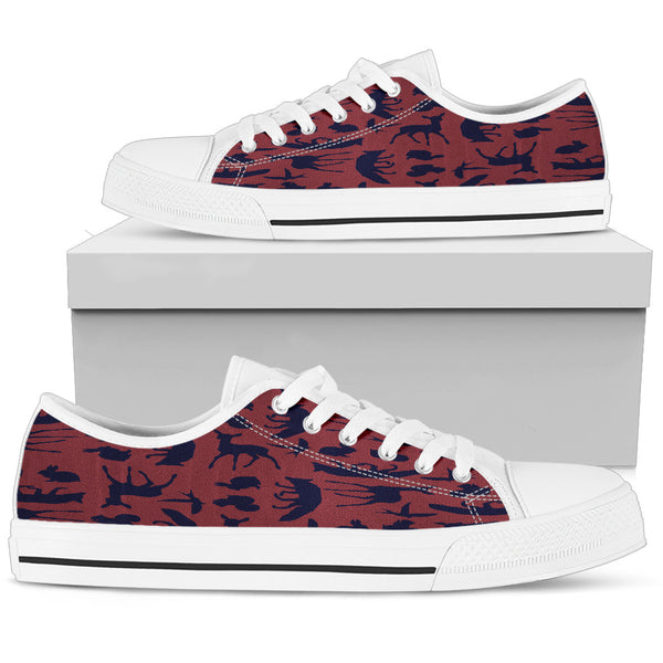 Woodland Creatures Red Womens Low Top Shoes - STUDIO 11 COUTURE