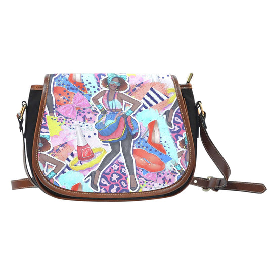 80's Fashion Design 8 Leather Saddle Bag - STUDIO 11 COUTURE