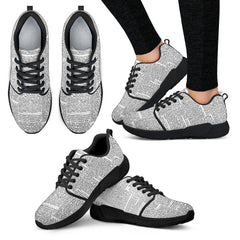 Old Newspaper Women Athletic Sneakers