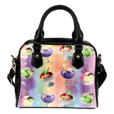 Ice Cream #10 Dessert Kawaii Lolita Theme Women Fashion Shoulder Handbag Black Vegan Faux Leather