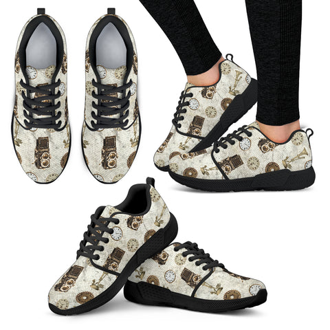 Old Television Steampunk Women Athletic Sneakers