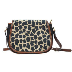Animal Prints White Leopard Leather Saddle Bag