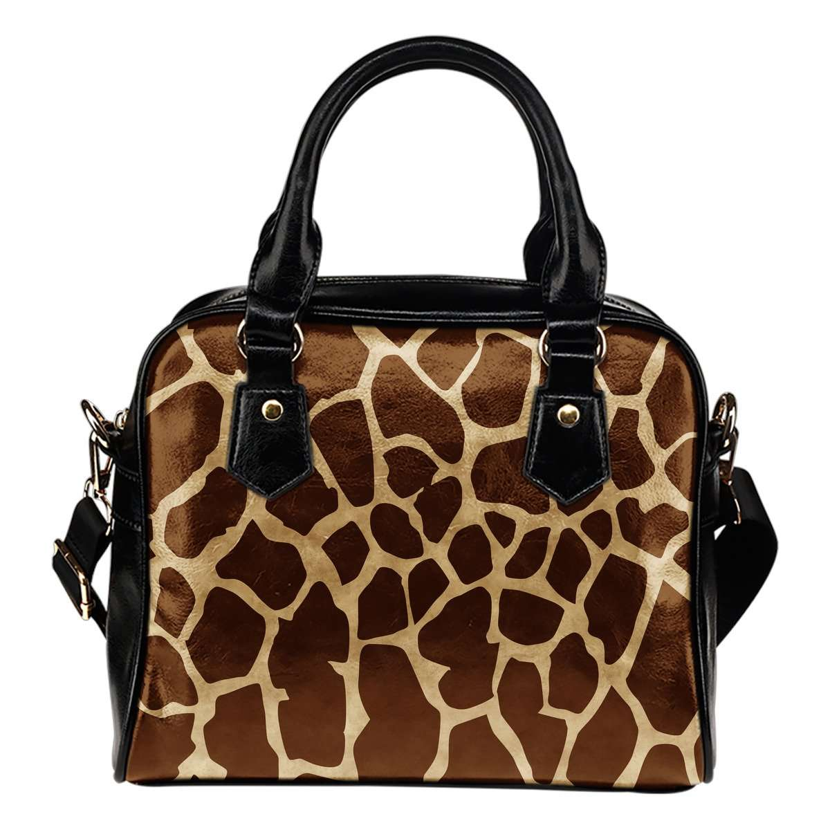Animal Prints Giraffe Theme Women Fashion Shoulder Handbag Black Vegan Faux Leather