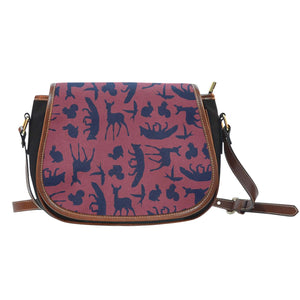 Snow White Wood Land Creatures Silhouette Red and Navy Blue Crossbody Shoulder Canvas Leather Saddle Bag - STUDIO 11 COUTURE