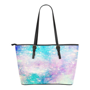 Pastel Galaxy Themed Design C6 Women Small Leather Tote Bag