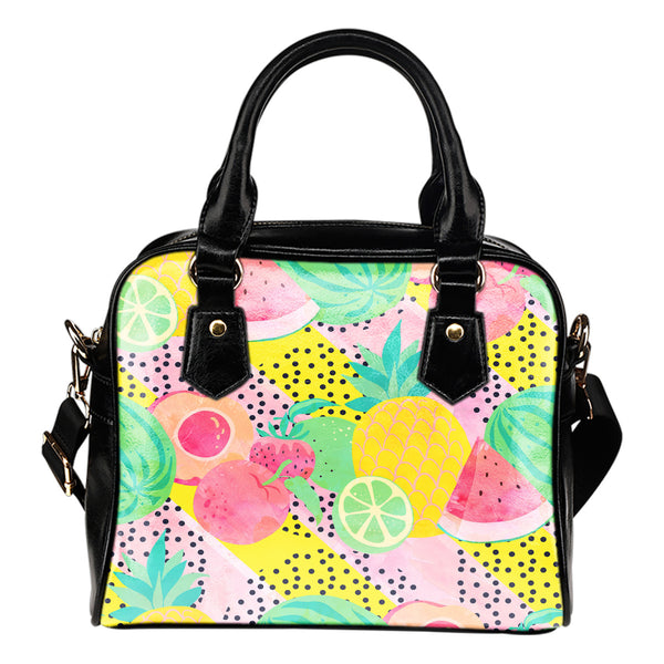 Fruits Themed Design B6 Women Fashion Shoulder Handbag Black Vegan Faux Leather