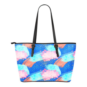 80s Fashion Themed Design C13 Women Small Leather Tote Bag