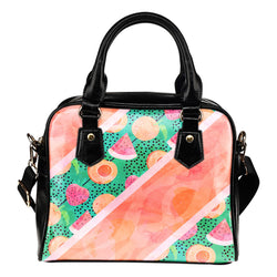 Fruits Themed Design B2 Women Fashion Shoulder Handbag Black Vegan Faux Leather