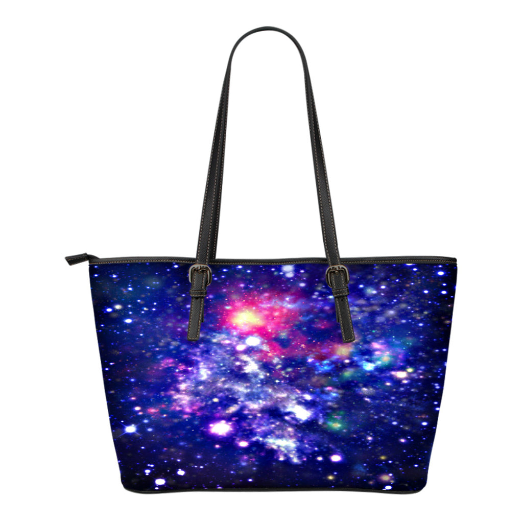 Galaxy Themed Design C1 Women Small Leather Tote Bag