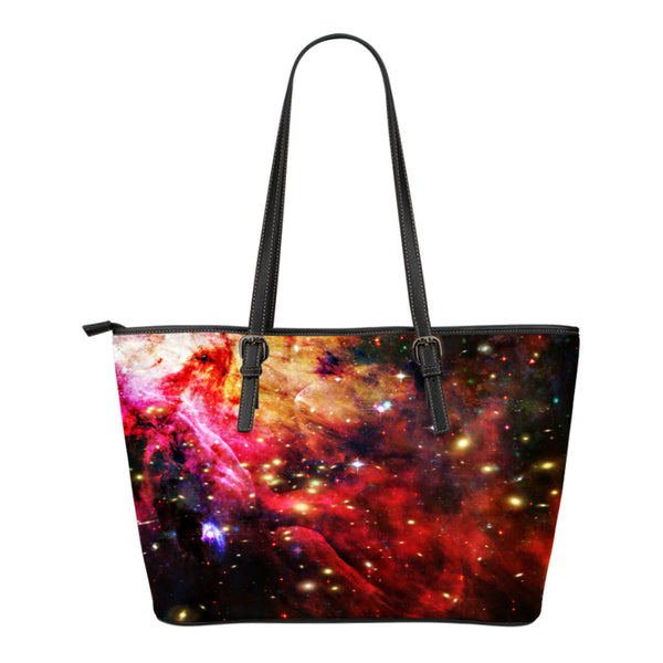 Galaxy Themed Design C89Women Small Leather Tote Bag